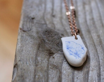 Rose Gold Sea Pottery Pendant/Sea Pottery/Blue and White/Floral/ Beach Pottery