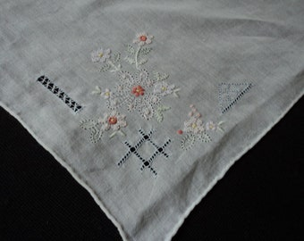 Ancient French handkerchief in embroidered linen and monogram of the letter D