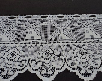 French vintage white lace net  door  window curtain 08588G