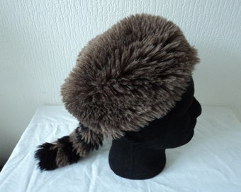 8913af9468a Brown faux fur David Crockett stlyle hat (07471)
