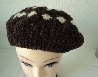 16752634027 French vintage double knitted beret (07754)