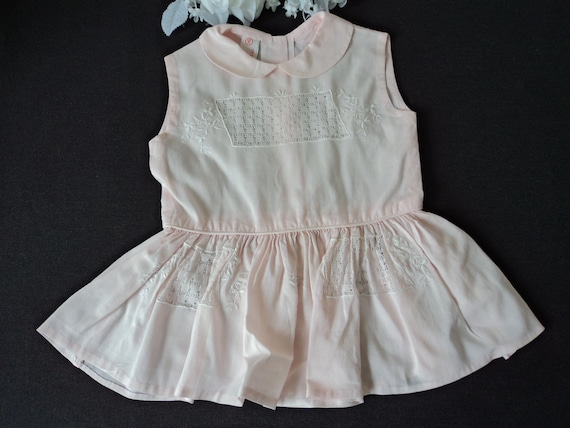 French vintage stunning blue and white embroidered cotton babies dress 05362