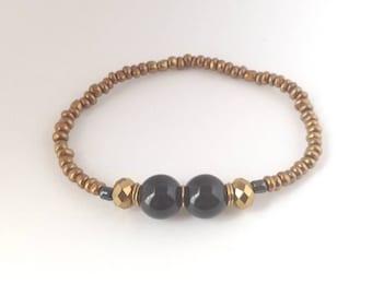 Black, Gold, Beaded Bracelet, Aydielle, Handmade Bracelet, Women's Jewelry, Beaded Bracelet for Her, Wedding Gift, One of a Kind Bridal Gift