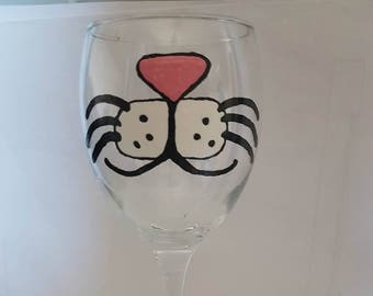 Hand painted Rabbit face wine glass.