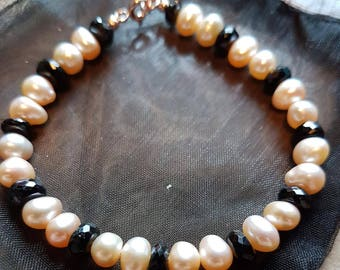 Peach Freshwater Potato Pearl and Faceted Rose Gold Plated 925 stering Silver bracelet.
