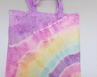 Multi colour tie dye tote bag.