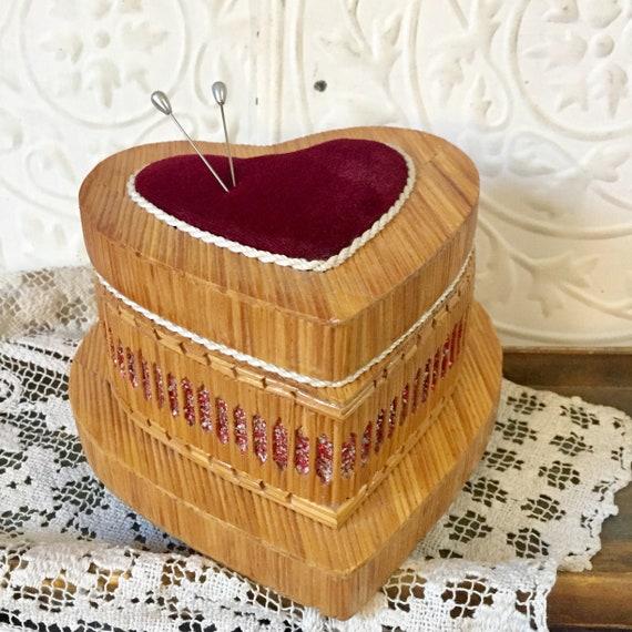 Vintage Heart  Box Tramp Art , Memory Jewelry Sewi