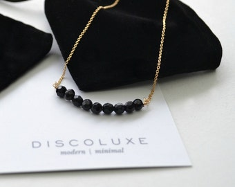 Obsidian Stone Necklace | Simple Black Gemstone Necklace | Short Beaded Necklace