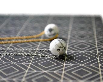 Minimal White Howlite Necklace | Modern Stone Necklace | Round Marble Necklace