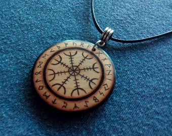 Pendant, keychain or wooden earrings: Nordic Viking Aegishjalmur. Pyrography by hand. Jewelry.