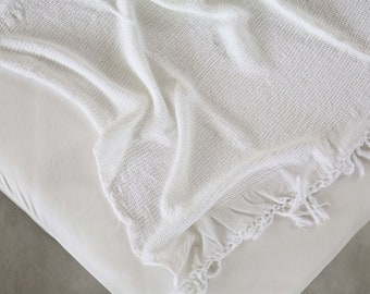 White Bamboo Throw Blanket Soft Natural Premium for Couch Sofa Bed Throw Blanket, Organic Cotton Cable Knit Throw
