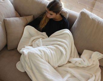 Boho Throw Blanket, Cream Knit Throw Blanket, Organic Cotton Cable Knit Throw, Housworming Gift Bedding