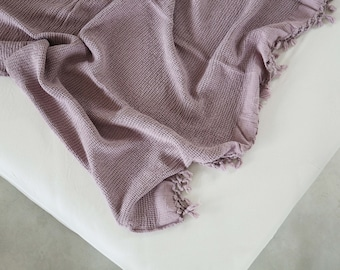 Lilach Bamboo Throw Blanket Soft Natural Premium for Couch Sofa Bed Blanket, Organic Cotton Cable Knit Throw, Housworming Gift Bedding