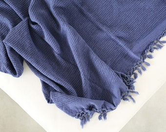 Blue Bamboo Throw Blanket Soft Natural Premium for Couch Sofa Bed Throw Blanket, Organic Cotton Cable Knit Throw, Housworming Gift Bedding