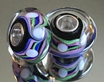 LOVE PURPLE FOIL MURANO GLASS .925 Sterling Silver EUROPEAN EURO Bead Charm