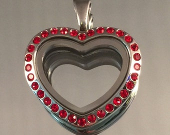 VRV Imported German 316L Stainless Steel 38x35mm Silver Heart With Red Czech Crystals Locket #VRV16