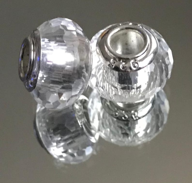 #M44 Murano Lampwork Bead .925 Plated Core European Style Faceted Clear