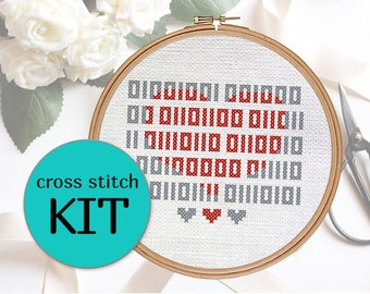 I love you (in binary code) cross stitch KIT. Perfect and simple nerdy programming gift!