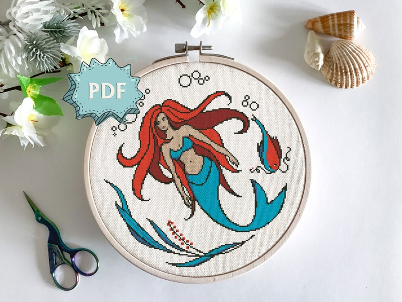 Mermaid cross stitch pattern  beautiful red haired mythical image 0