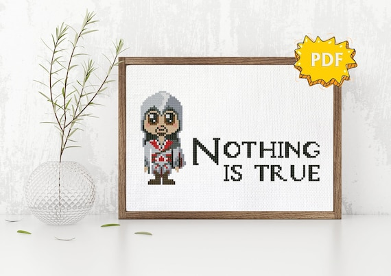 Chibi Kawaii Ezio Auditore Assassin S Creed Video Game Cross Stitch Or Hama Beads Pattern Instant Download