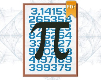 Pi Mathematical constant (3,14) poster style unique cross stitch pattern. Instant Download