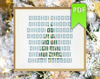 Merry Christmas in binary code nerdy cross stitch pattern. Instant download!