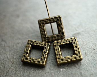 Initial Pendant Square Pendant 5 Pcs 10mm Raw Brass Square Charms SOM174 EL Dainty Necklace Geometric Charms Raw Brass Findings