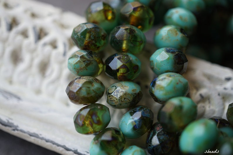 Czech Beads Turquoise Deep Blue 55-3s Rondelle Beads Beads