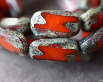 Artsy Red, Rectangle Beads, Czech Beads, Beads, 1-1