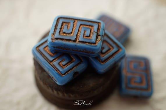 Urban Blue Greek Key Symbol Beads Czech Beads N1727 Etsy