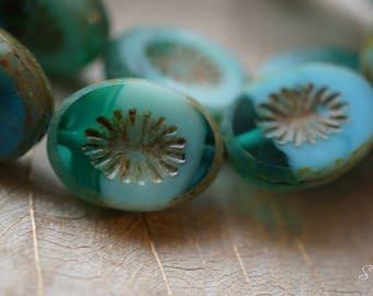 Emerald Flower, Oval Beads, Czech Beads, Beads, N2259