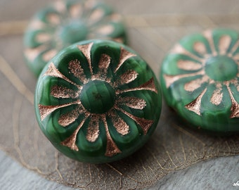 Green Flowers, Czech Flowers, Flower Beads, Beads, D86