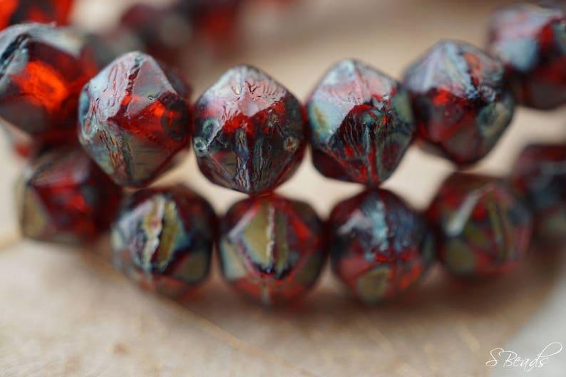117-2s Beads Rugged Garnet English Cut Beads Czech Beads