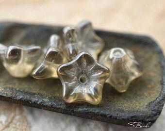 Light Smoky Grey, Flower Beads, Czech Beads, N1868