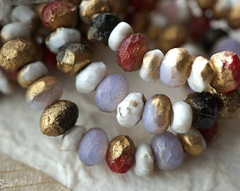 Winter Bliss, Rondelle Beads, Czech Beads, Beads