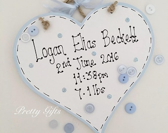 Ssshhh New Baby Boy Girl Sleeping Personalised Heart Plaque Etsy