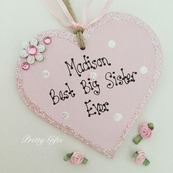 Personalised Best Big Sister Brother  Heart Plaque Handmade Keepsake Gift