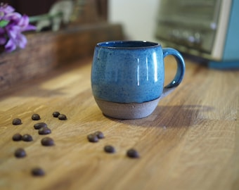 Ceramic espresso cup, gift women, pottery, Gifts for him, coffee lovers, , Handmade, blue cup.