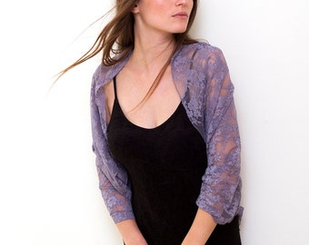 Dusty Purple Shrug Bolero With 4 Wearing Options- shawl, shrug, crisscross and infinity scarf . Lace shrugs boleros lavender lace (CL150)
