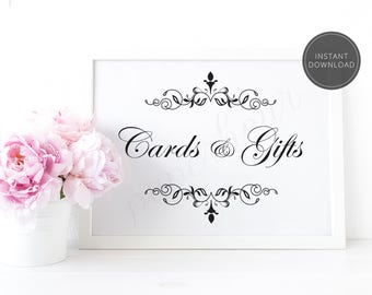 Printable Wedding Reception Sign | Cards and Gifts | Instant Download | 5x7 & 8x10 | DIY Printable/Digital File | z010