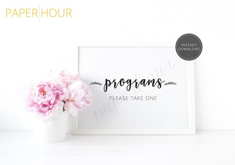 Printable Wedding Reception Sign  Programs please take one  image 0