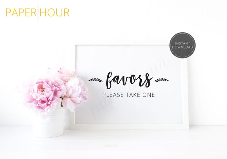 Printable Wedding Reception Sign  Favors please take one  image 0