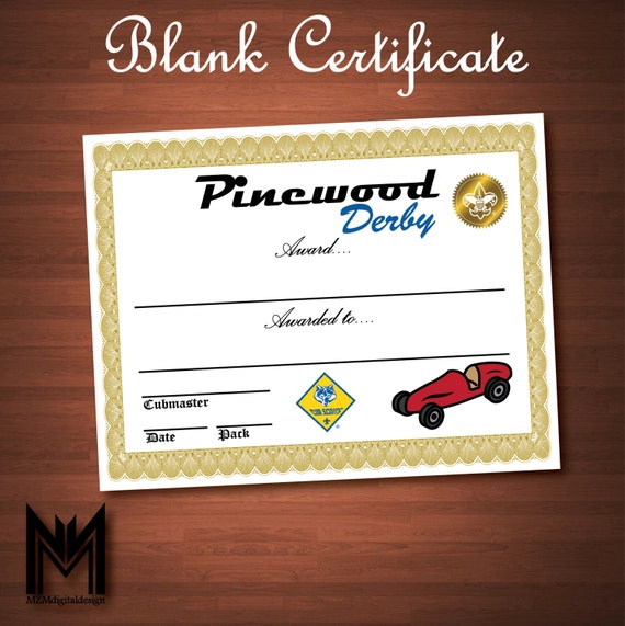 Printable Blank Pinewood Derby Certificate Bsa Cub Scout Etsy