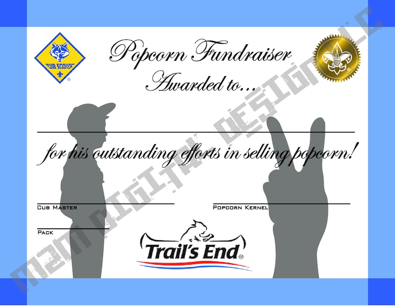 picture regarding Cub Scout Printable named Popcorn Fundraiser Printable Certification - BSA Cub Scout - Award - Pack Convention - Immediate Obtain - PDF History