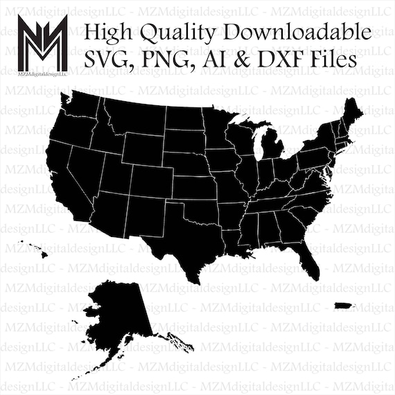ALL 50 States USA + Puerto Rico svg, png, ai and dxf Files -For Commercial  & Personal Use- SVG for Cricut Silhouette and Cameo - Vinyl file