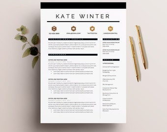 "Resume Template 4 pages | CV Template + Cover Letter for MS Word | Instant Digital Download | The ""Parisian"""