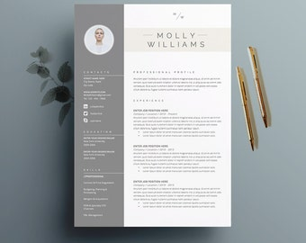 "Resume Template 4 page | CV Template + Cover Letter for MS Word | Instant Digital Download | The ""Minerva"""