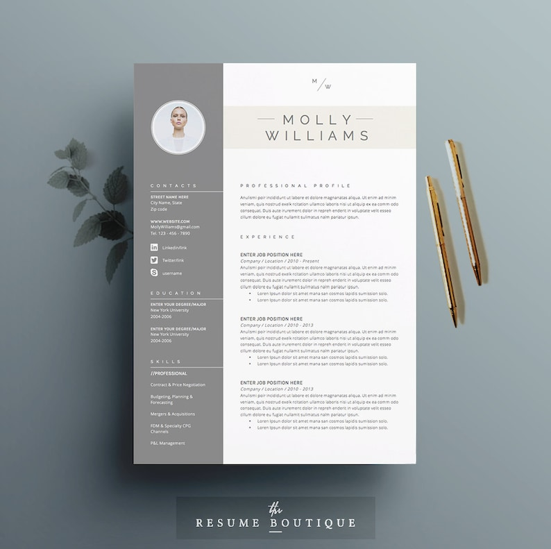 Resume Template 4 page | CV Template + Cover Letter for MS Word | Instant  Digital Download | The