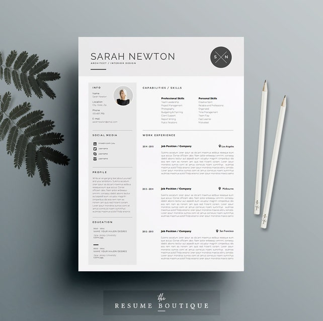 "Resume Template and Cover Letter Template for Word | DIY Printable 4 Page | The ""Moonlight"" 