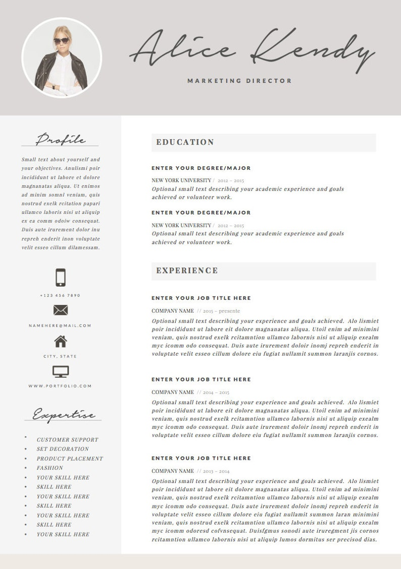 Resume Template 4 page Word DIY Printable CV with Cover Letter Professional and Creative Design The Charming